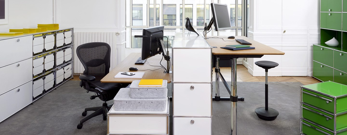 white office USM Haller sideboards with storage cabinets in an office
