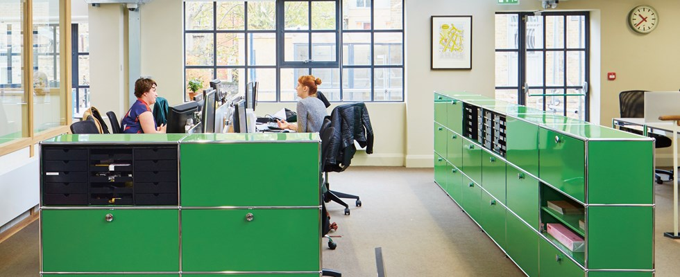 quality open plan office furniture in USM green