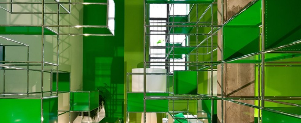 USM Haller art installation in green at the BOFFO show house