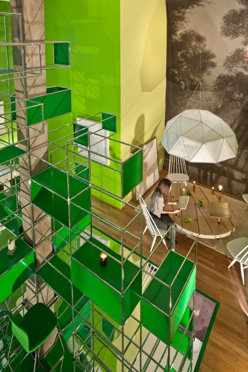 modular USM furniture in green at the BOFFO show house