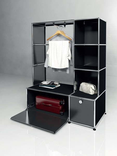 black USM Haller wardrobe with open shelving and clothes rail