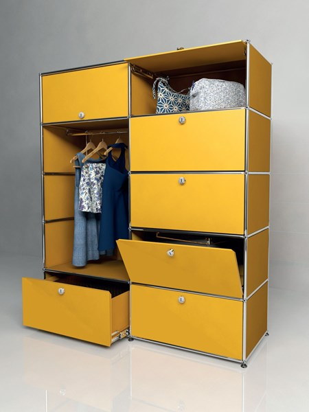 yellow steel USM Haller wardrobe with mixed doors and drawers