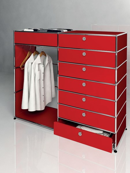 red USM custom steel wardrobe with drawers