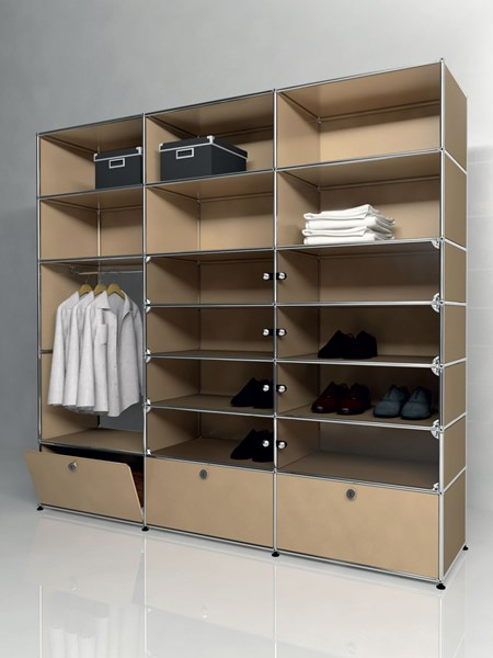 beige USM Haller wardrobe with shelving and fold down drawers