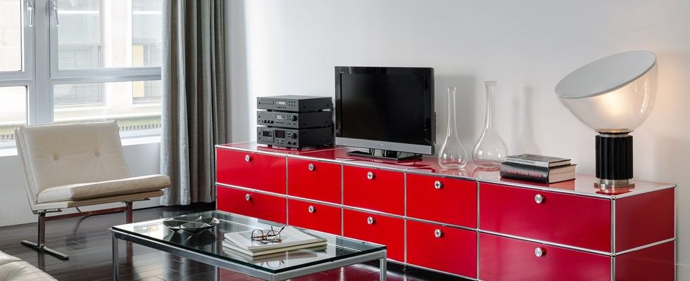 red metal USM sideboard with draws in a modern livingroom
