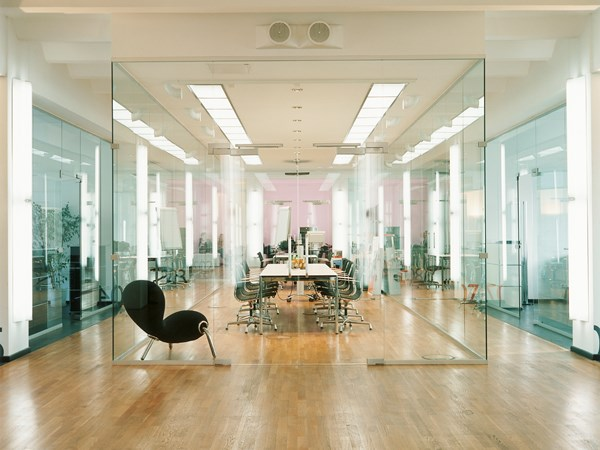 glamorous modern  boardroom with USM Haller white conference table