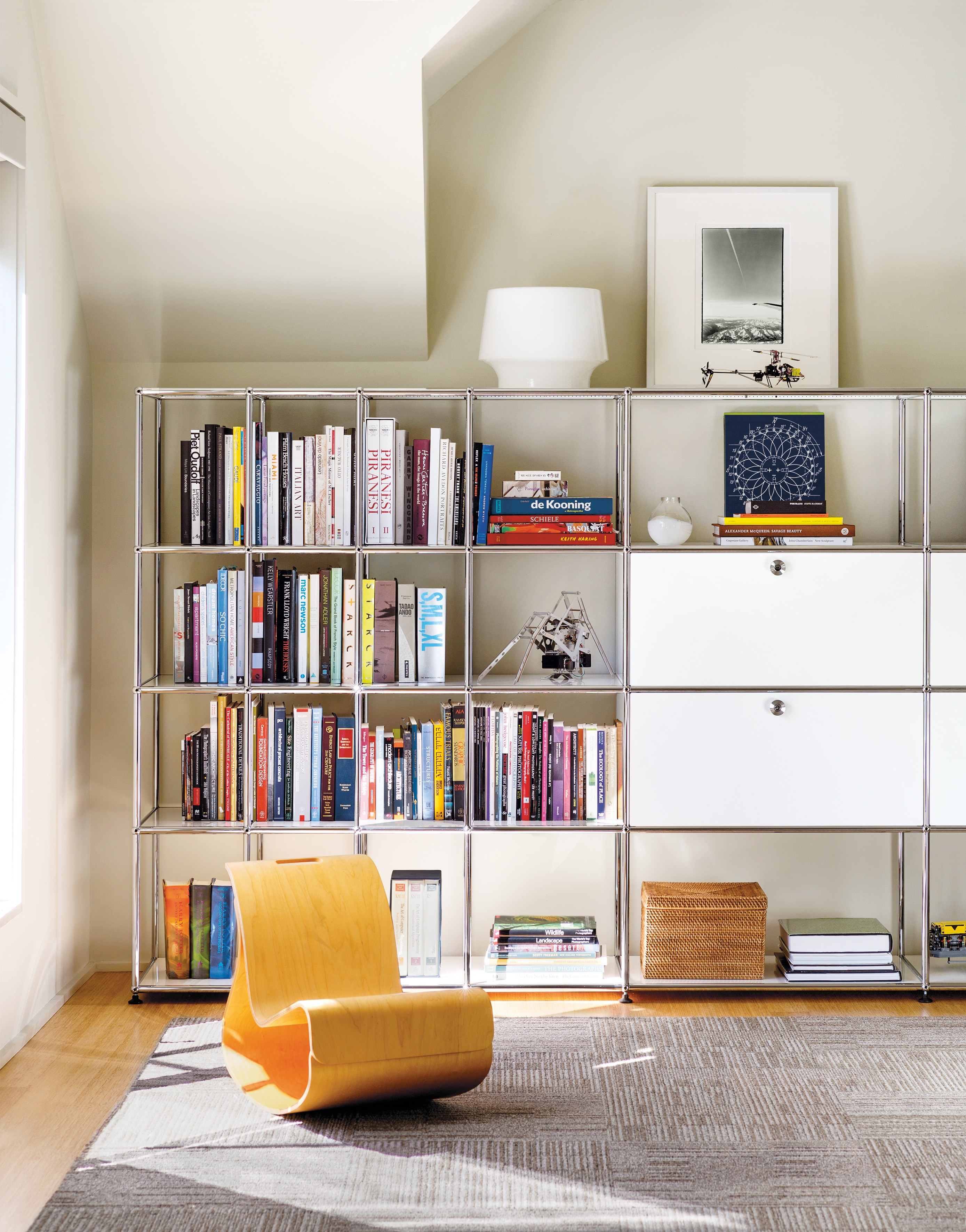 white USM Haller shelving and storage in home office