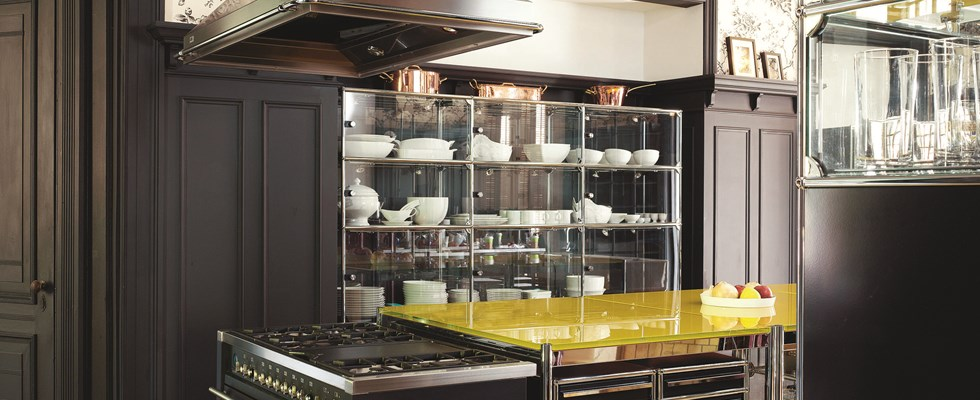 chrome and glass USM haller kitchen cabinets and storage