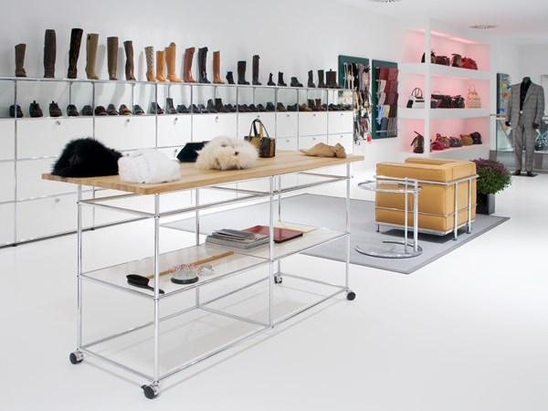 customised modular USM Haller display shelves in white
