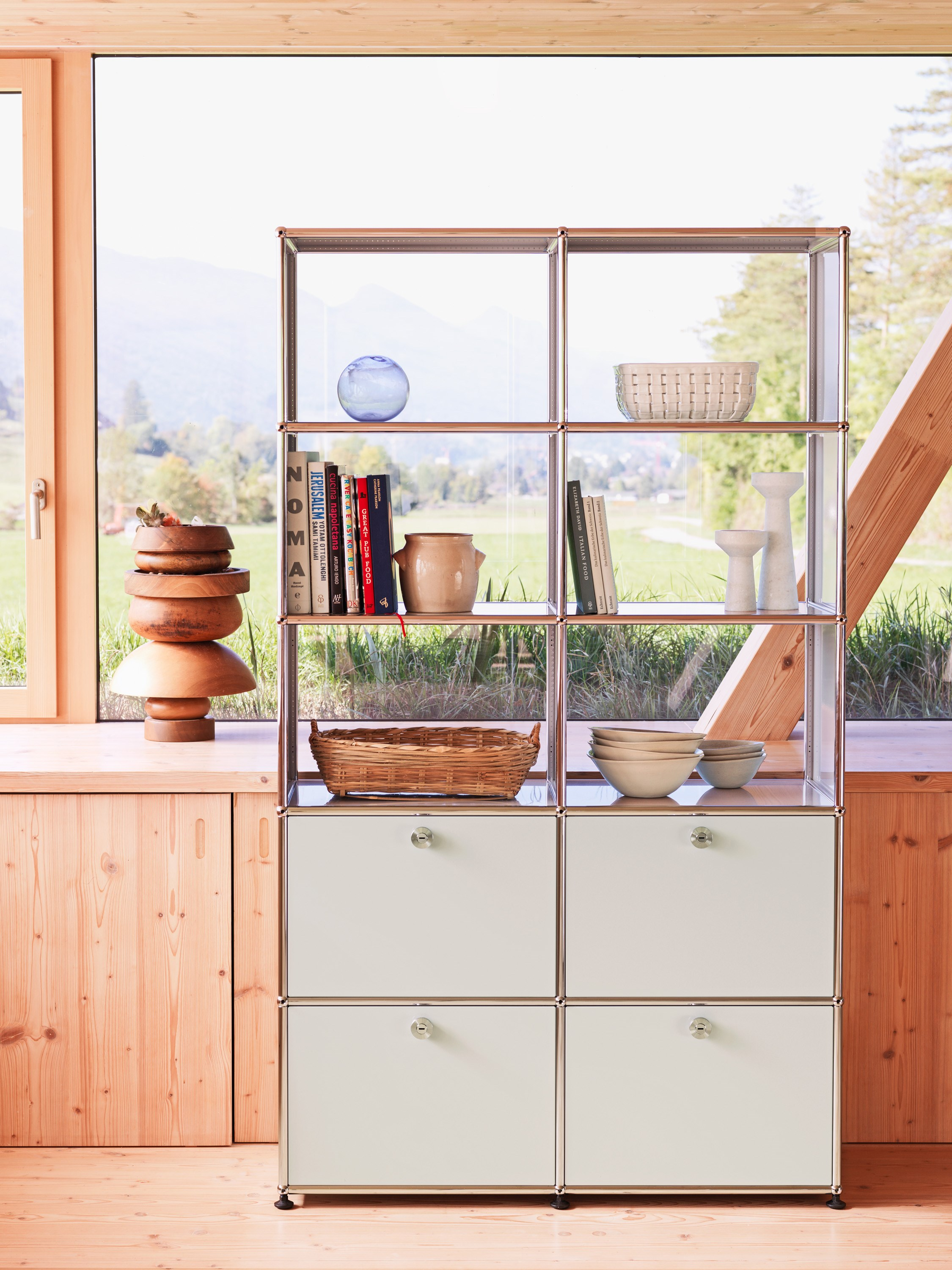 white USM Haller kitchen storage with open shelving and drawers