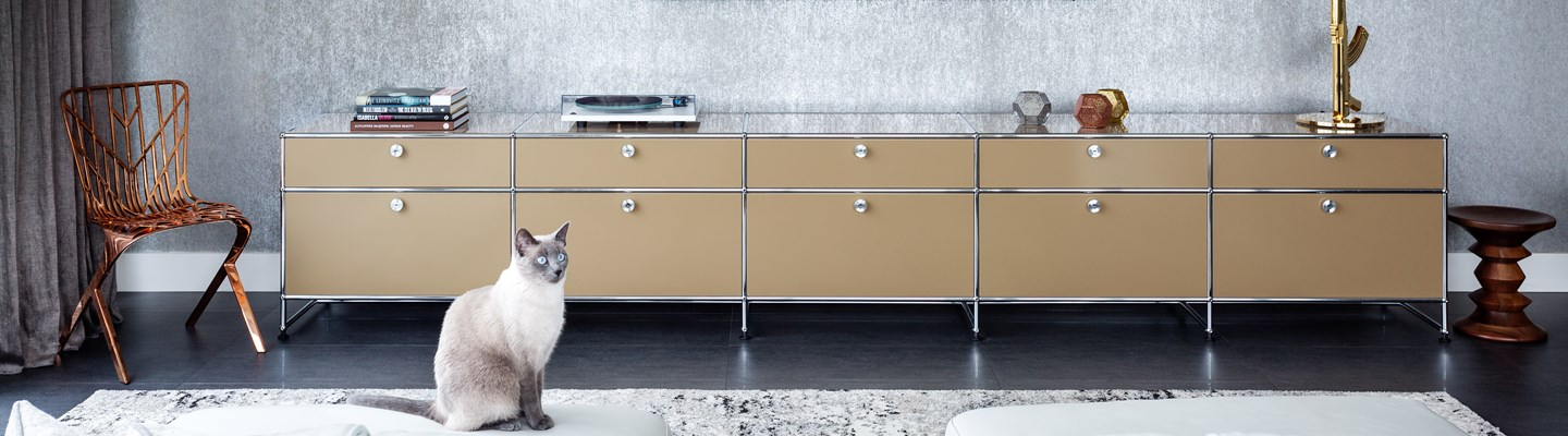 beige USM Haller sideboard in a modern living room