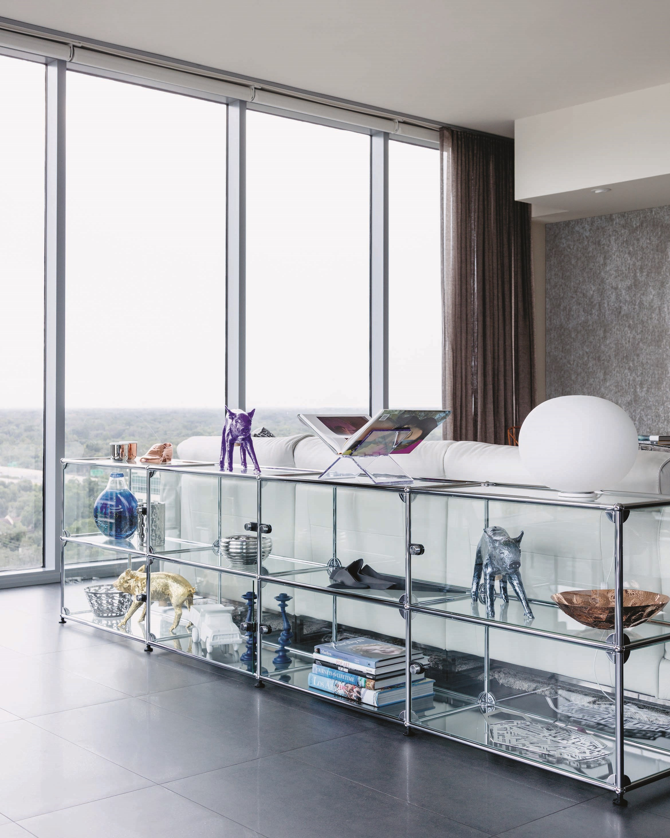 modular living room display shelves in steel and glass