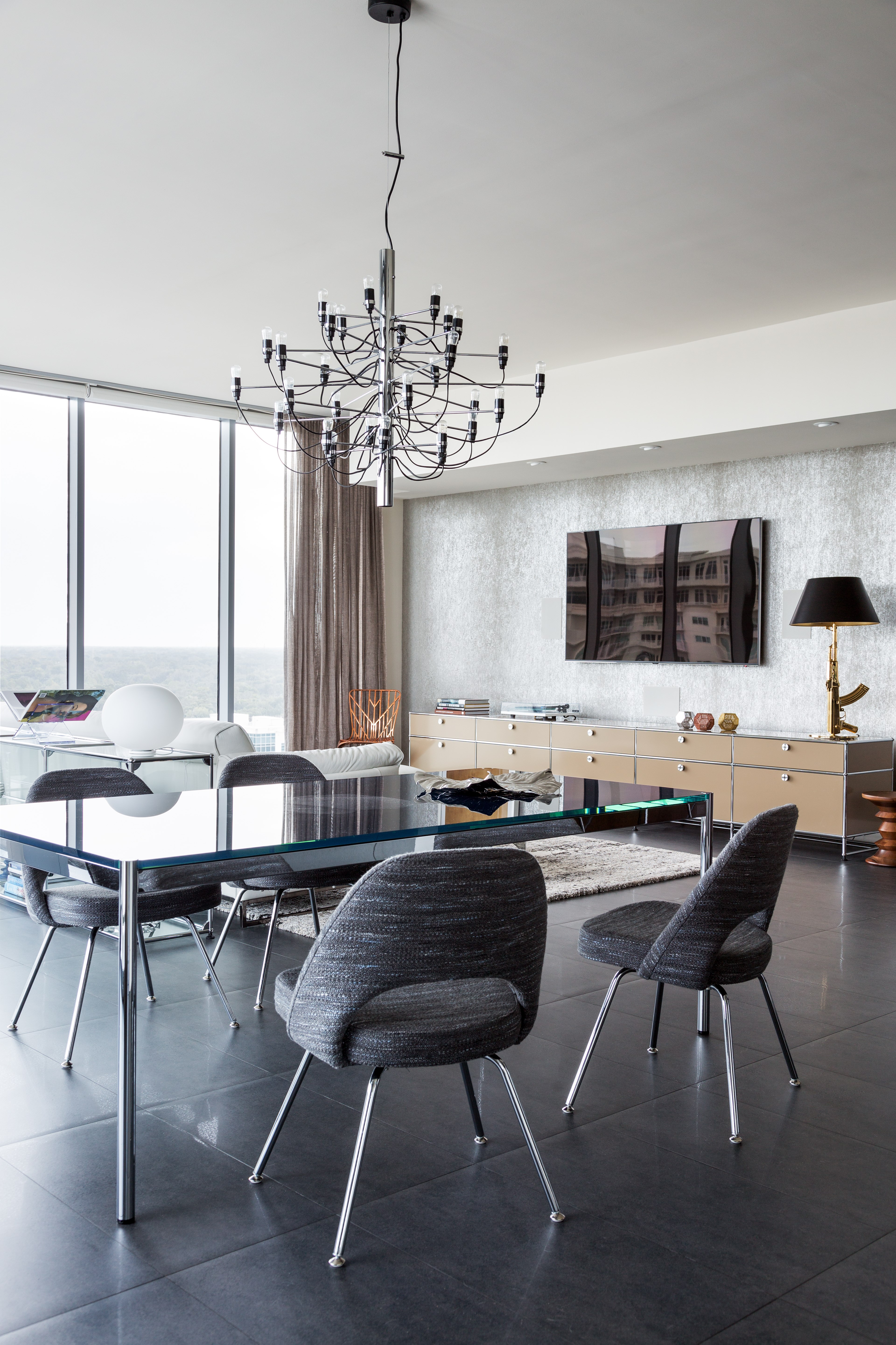 USM Haller table with glass finish in contemporary designer living room