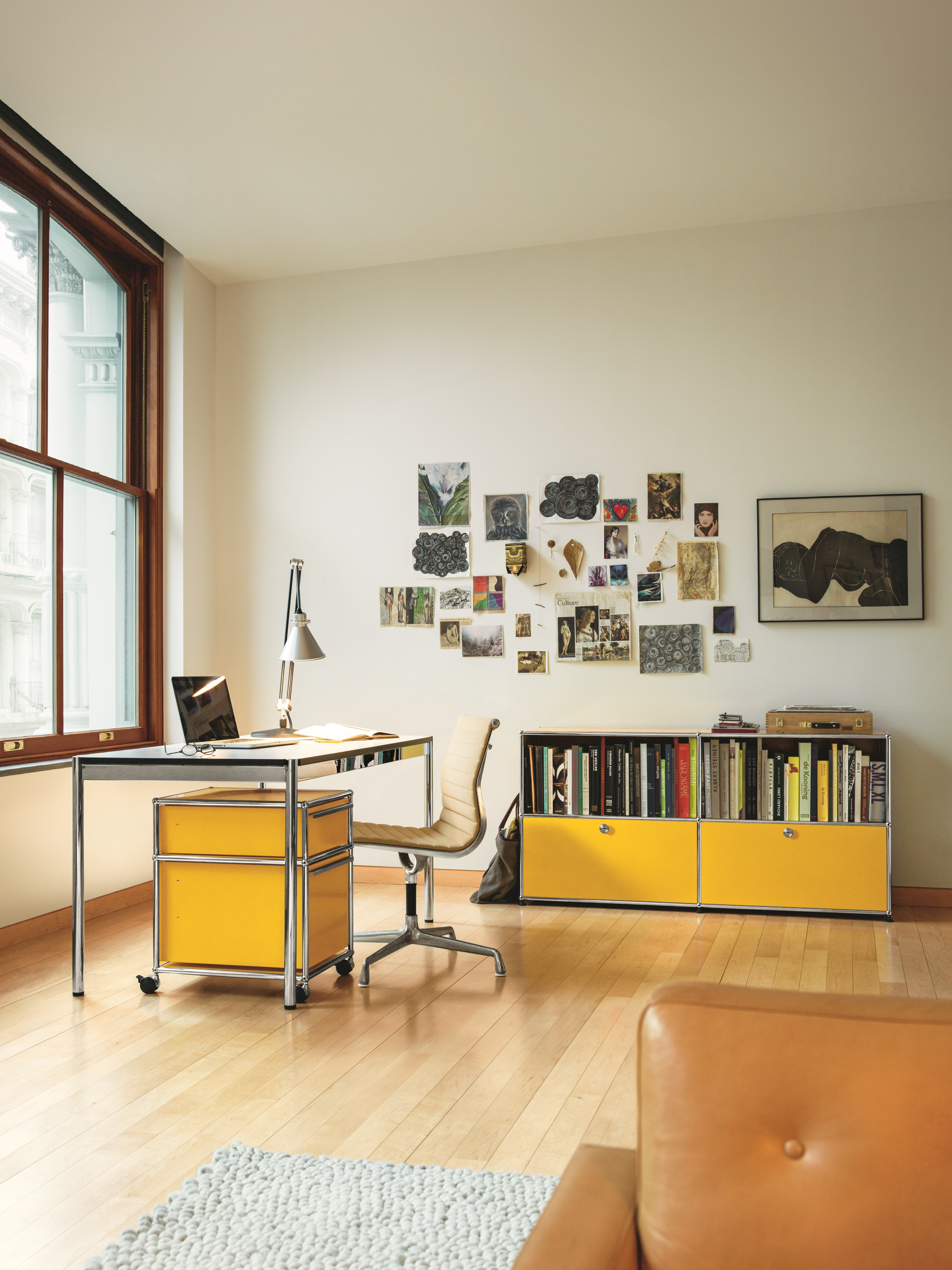 yellow USM Haller desk sideboard and table in minimalist home office