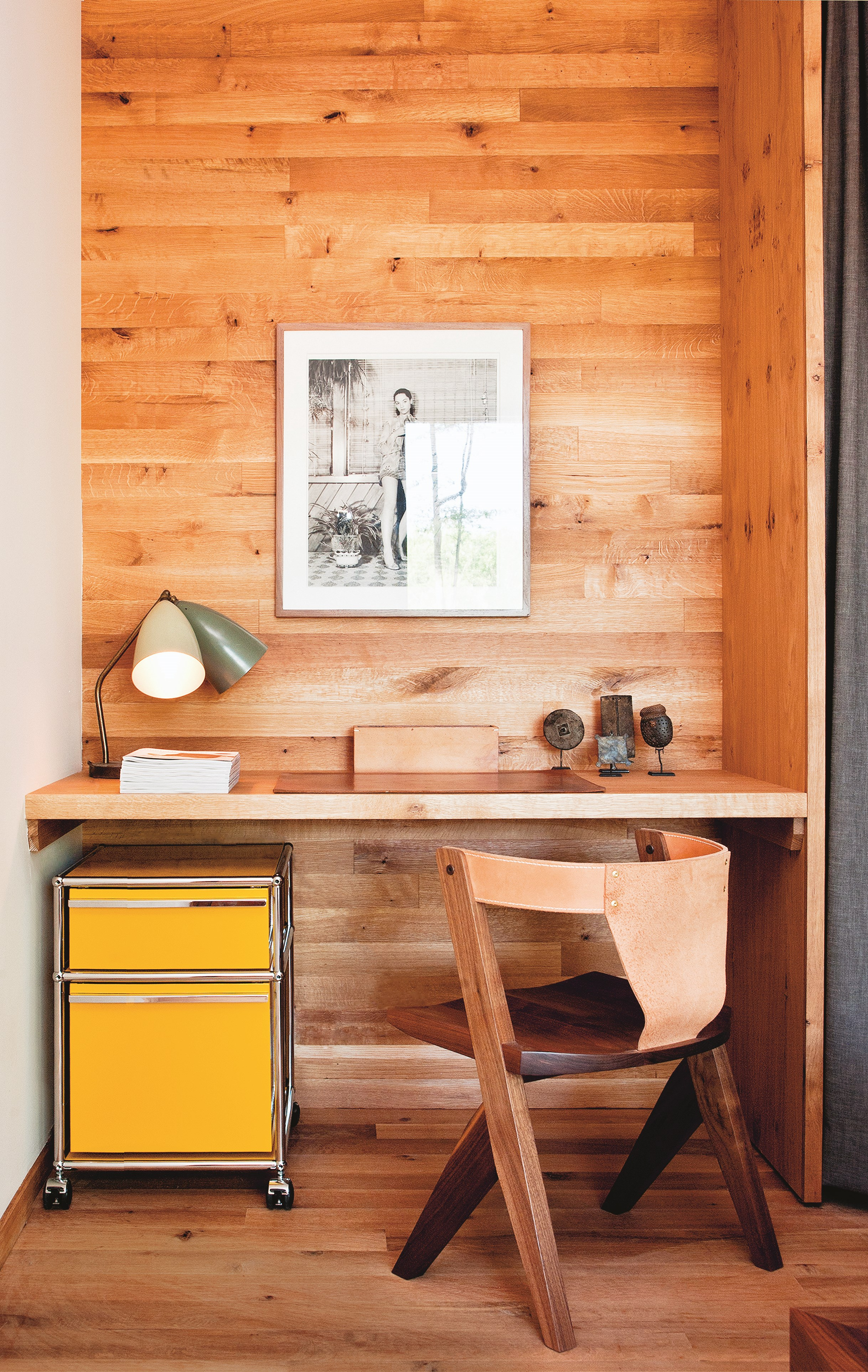 yellow USM Haller pedestal on castor wheels in wooden home office