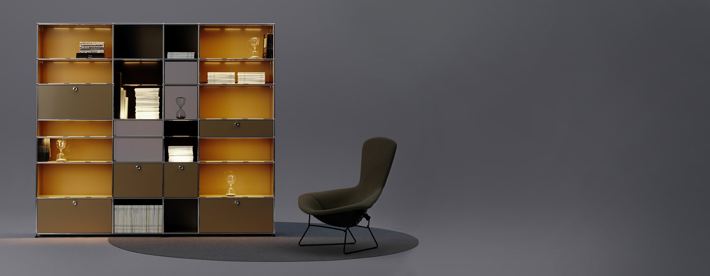USM Haller E storage furniture with built-in lighting in beige