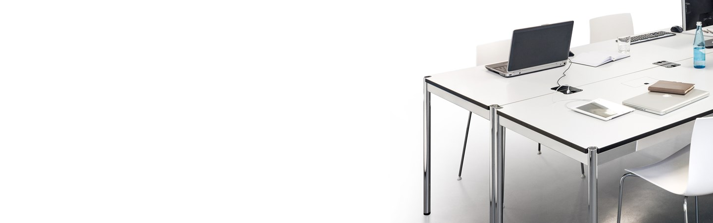 pure white and metal bank of USM Haller desks