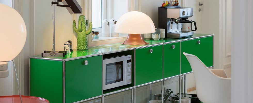designer kitchen cabinet in green finish