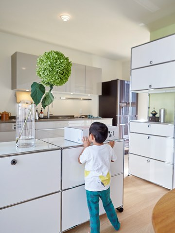 custom white USM Haller kitchen furniture