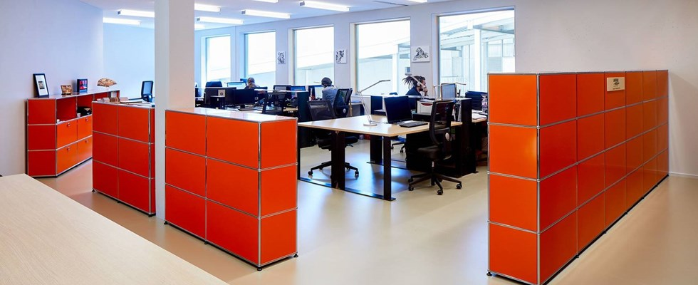 Orange USM Modular furniture room dividers
