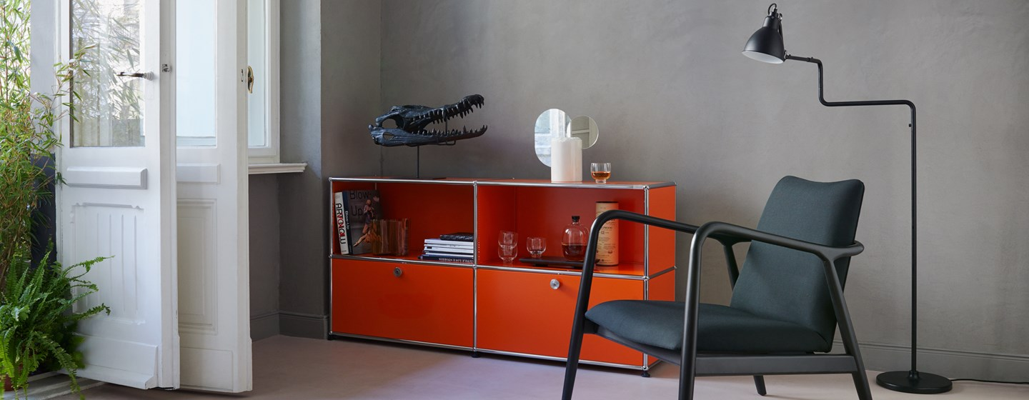 customized pure orange storage built with USM Haller system