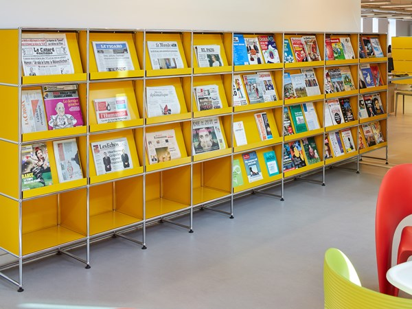 yellow shelving USM Haller