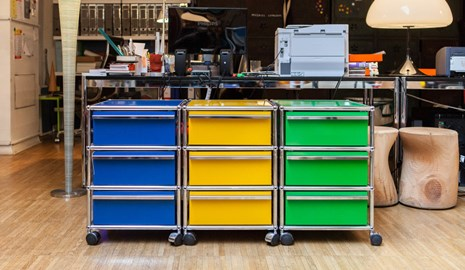 USM Haller colourful mobile pedestals