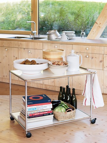 White mobile USM Haller catering trolley with handle