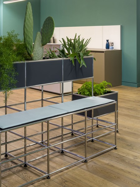 anthracite USM Haller planters with built in seating