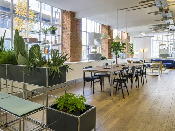 modern open plan office with anthracite modular planters and a multi-use table