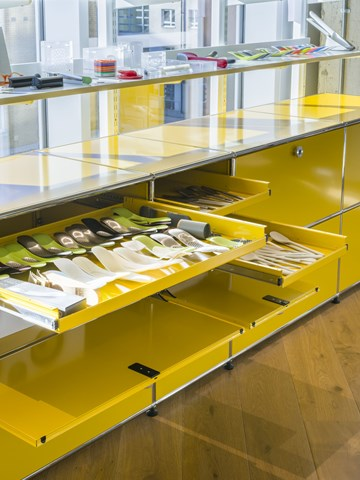 Close up of Yellow USM Haller extension drawers