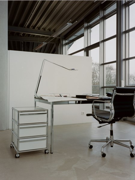 White mobile pedestal with three drawers in a modern office