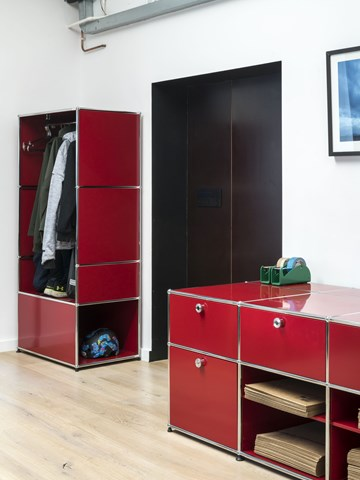 Red USM Haller storage and wardrobe in open plan office