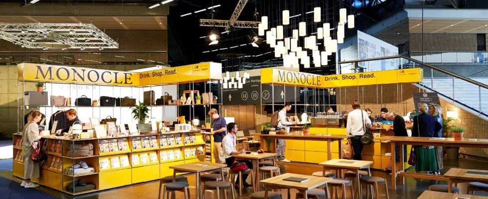 Monocle x USM golden yellow retail pop-up cafe