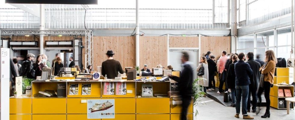 Monocle x USM golden yellow retail pop-up cafe with storage