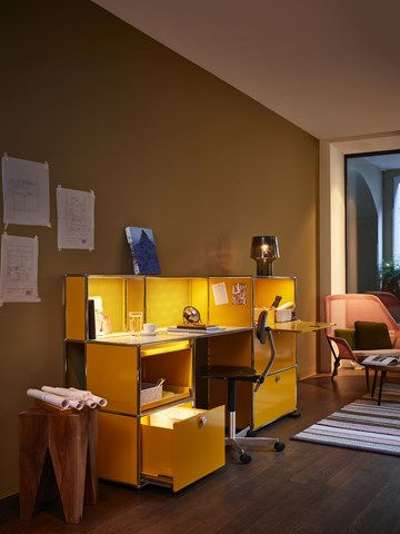 yellow USM Haller home office desk with haller e