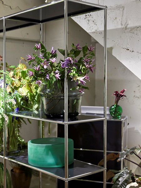 anthracite USM Haller furniture for a florist in japan displaying flower arrangements
